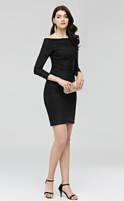 TS Couture Cocktail Party Dress - Little Black Dress Sheath / Column Off-the-shoulder Short / Mini Jersey with Ruching