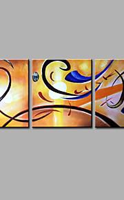 Maalattu Abstrakti Pystysuora,Moderni 3 paneeli Kanvas Hang-Painted öljymaalaus For Kodinsisustus