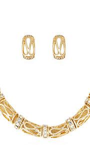 Set de Bijoux Collier Boucles d'oreilles Mode euroaméricains Strass Alliage Forme de Tube 1 Collier 1 Paire de Boucles d'Oreille Pour