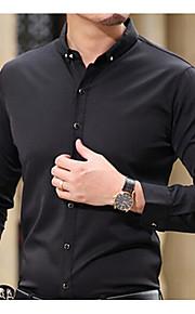Heren Eenvoudig Overhemd,Uitgaan Casual/Dagelijks Effen Overhemdkraag Korte mouw Katoen