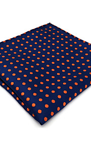 UH5  Fashion Unique Mens Pocket Square Handkerchiefs Dark Blue Orange Dots 100% Silk Business Handmade