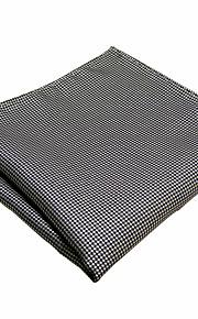 YH20   New Men's Pocket Square Handkerchiefs Handmade Black White Houndstooth 100% Silk Classic Unique  Jacquard Woven