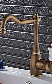 アンティーク調 標準スパウト 洗面ボウル 回転可 with  セラミックバルブ シングルハンドルつの穴 for  アンティーク銅 , 水栓