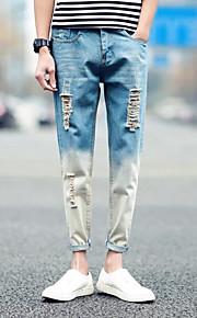 Heren Street chic Medium taille Ruimvallend strenchy Jeans Broek Denim,Effen