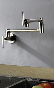 現代風 アールデコ調/レトロ風 近代の 標準スパウト トール/ハイアーク ポットフィラー 壁式 サーモスタットタイプ レインシャワー 回転可 with  セラミックバルブ シングルハンドルつの穴 for  ブラッシュドニッケル , 水栓