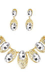 Set de Bijoux Collier Boucles d'oreilles Mode euroaméricains Strass Verre Alliage Forme Ovale 1 Collier 1 Paire de Boucles d'Oreille Pour