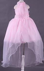 Princesse Asymétrique Robe de Demoiselle d'Honneur Fille - Dentelle Polyester Licou avec Billes Drapée Fleur(s)