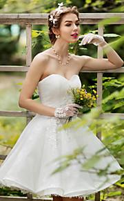 Princesse sweetheart genou longueur robe de mariée en dentelle avec cristal appliques de perles fleur