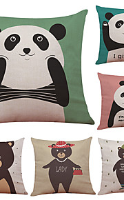 Set of 6 Cute Panda Pattern Linen Pillowcase Sofa Home Decor Cushion Cover  Throw Pillow Case (18*18inch)