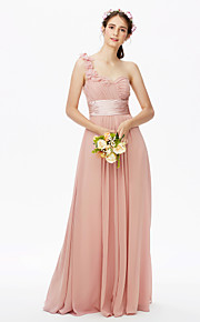 A-Line One Shoulder Floor Length Chiffon Bridesmaid Dress with Flower(s) Sash / Ribbon Criss Cross Ruching Pleats by LAN TING BRIDE®