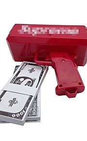 Pistola de dinero, hacer que llueva! Batería 9v, dinero del juego, color rojo