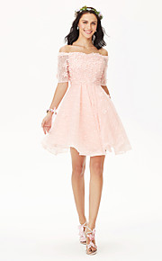 Princess Off-the-shoulder Short / Mini Lace Bridesmaid Dress with Crystal Detailing Flower by Yaying