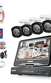 Sannc® 8ch 4pcs hd 720p dvr weatherproof sikkerhedssystem lcd monitor understøttet analog ahd tvi ip kamera