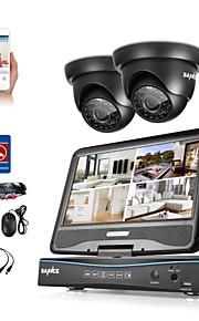 Sannce® 4ch 1080p dvr med lcd vejrbestandigt sikkerhedssystem understøttet 720p analog ahd tvi ip kamera uden hdd