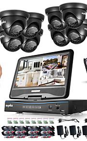 Sannce® 8ch 8pcs 720p lcd dvr weatherproof sikkerhedssystem understøttet analog ahd tvi ip kamera 1tb