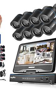 Sannce® 8ch 8pcs 720p ip kamera lcd dvr weatherproof sikkerhedssystem understøttet analog ahd tvi uden hdd