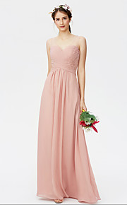 Sheath / Column Straps Floor Length Chiffon Bridesmaid Dress with Criss Cross Ruching Pleats by LAN TING BRIDE®