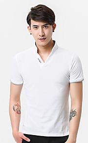 남성 솔리드 V 넥 짧은 소매 Polo,액티브 일상 면 여름 중간