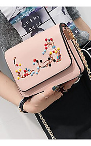 Women Shoulder Bag PU All Seasons Casual Outdoor Square Zipper Blushing Pink Black White