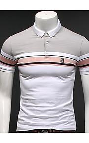 남성 줄무늬 셔츠 카라 짧은 소매 Polo,심플 일상 캐쥬얼 면