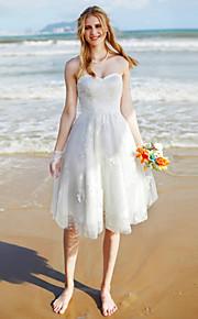 Trapèze Coeur Mi-long Dentelle Tulle Robe de mariée avec Dentelle par LAN TING BRIDE®