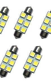5pcs auto festoon koepel lamp 39mm 1w 6smd 5050 chip wit 80-100lm 6500-7000k dc12v leeslamp nummerplaat lichten