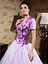 Wedding  Wraps Shrugs Short Sleeve Satin Grape Party/Evening T-shirt Open Front