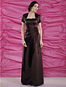Sheath/Column Plus Sizes Mother of the Bride Dress - Chocolate Floor-length Short Sleeve Satin