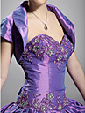 Wedding  Wraps Shrugs Short Sleeve Taffeta Grape Party/Evening High Neck Open Front