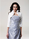 Wedding  Wraps Coats/Jackets 3/4-Length Sleeve Taffeta Ivory Wedding High Neck Ruffles Open Front