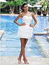 LAN TING BRIDE Ball Gown Wedding Dress - Chic & Modern Reception Little White Dress Short / Mini Sweetheart Satin with Criss-Cross Pick-Up