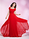 Prom/Military Ball/Formal Evening Dress - Ruby Plus Sizes Sheath/Column Square Floor-length Chiffon