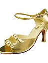 Non Customizable Women\'s Dance Shoes Latin/Ballroom Leatherette Stiletto Heel Gold