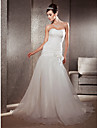 Lanting Bride Fit & Flare Petite / Plus Sizes Wedding Dress-Chapel Train Sweetheart Organza