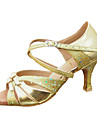 Non Customizable Women\'s Dance Shoes Latin/Ballroom Leatherette/Paillette Stiletto Heel Gold
