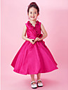 A-line / Princess Tea-length Flower Girl Dress - Taffeta Sleeveless V-neck with Bow(s) / Draping / Flower(s) / Side Draping