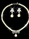 Shining Rhinestone Bow Necklace And Earring Set