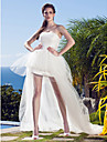LAN TING BRIDE Princess Wedding Dress - Chic & Modern Glamorous & Dramatic Reception Little White Dress Asymmetrical Strapless Tulle with