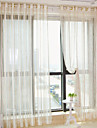 Two Panels Modern Stripe Beige Bedroom Polyester Sheer Curtains Shades