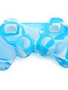 skyddande tvåfärgad silikon etui till PS3 Controller (blå och vit)
