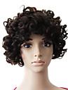 Capless 100% äkta hår naturligt svart kort härlig lockigt peruk