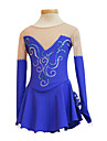 Colorful Crystal V-Neck Long Sleeve Graceful Ice Skating Dress