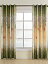 Country Two Panels Leaf Green Living Room Polyester Curtains Drapes