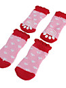 Pink Bling-bling Hearts Red Lace Anti-Skid Socks for Dogs (S-L)