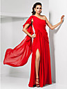 TS Couture® Formal Evening / Military Ball Dress - Sexy Plus Size / Petite Sheath / Column One Shoulder Floor-length Chiffon withDraping / Ruffles /