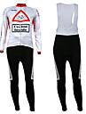 KOOPLUS® Maillot et Cuissard Long a Bretelles de Cyclisme Homme Manches longues VeloRespirable / Garder au chaud / Doublure Polaire /