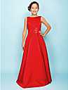 Lanting Bride® Floor-length Satin Junior Bridesmaid Dress A-line / Princess Bateau Natural with Beading / Draping / Criss Cross