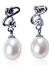 splendidi orecchini di perle in argento sterling freschi con cristallo