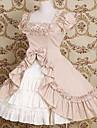 kortärmad knälång bomull båge och rufsa prinsessa lolita klänning