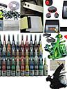 2 vapen tattoo kit med dubbla utgångar lcd effekt och 54 färgbläck